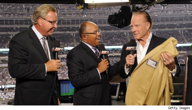 ESPN's Ron Jaworski and Mike Tirico with Frank Gifford