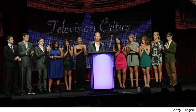 Ryan Murphy and the cast of 'Glee' accept their TCA award for Program of the Year for 2009-10