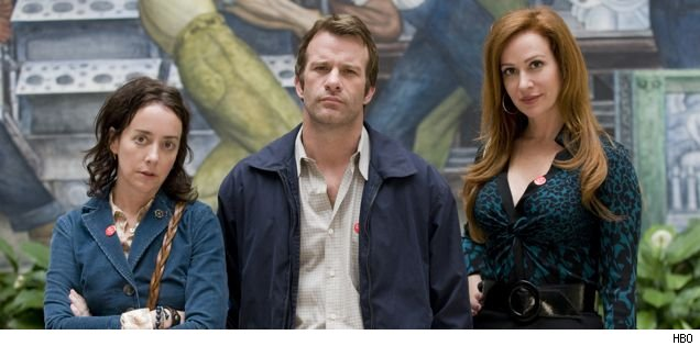 Jane Adams, Thomas Jane, and Rebecca Creskoff on 'Hung'