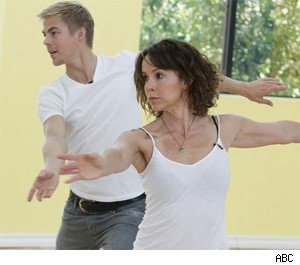 Derek Hough and Jennifer Grey practice their foxtrot.