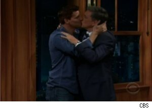 David Boreanaz Kisses Craig Ferguson on 'Late Late'