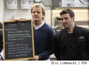Gordon Ramsay and Joseph Cerniglia in the Campania episode of 'Kitchen Nightmares' on FOX