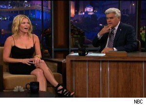 Jay Leno and Chelsea Handler Flirt, Struggle With 'Sexual Tension' on 'The Tonight Show'