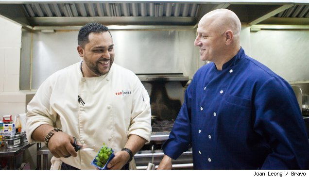 Kevin Sbarga and Tom Colicchio in the 'Top Chef' Season 7 finale