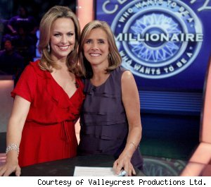 Melora Hardin and Meredith Vieira during the Celebrity 'Millionaire' week