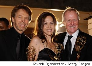 Jerry Bruckheimer, Elise Doganieri and Bertram van Munster