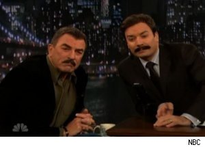 Tom Selleck, Fallon Compare Mustaches on 'Late Night'