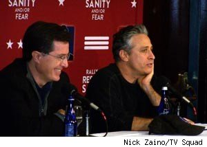 Stephen Colbert and Jon Stewart at the post-Rally press conference