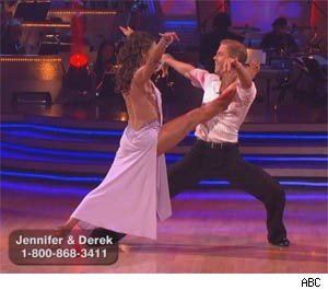 Jennifer Grey and Derek Hough dance the rumba on DWTS