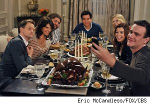 The gang on 'HIMYM' celebrate Thanksgiving with The Blitz (Jorge Garcia) and Zoey (Jennifer Morrison)