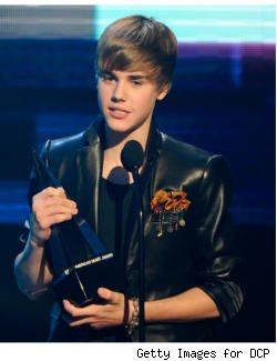 Justin Bieber accepts Artist of the Year Award onstage at the 2010 AMAs