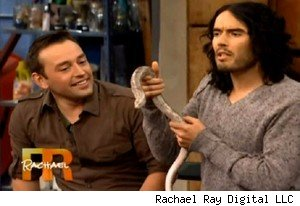 Russell Brand and a legless lizard on 'Rachael Ray'