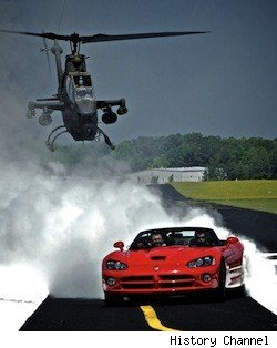 Rutledge Wood and Tanner Foust take a Dodge Viper on a Bell AH-1 Cobra helicopter in the premiere episode of