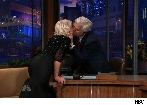 Helen Mirren Gives In to Her 'Bad Angel,' Kisses Jay Leno on the Lips