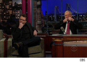 Matt Damon and David Letterman Talk With Hair-Ties on Their Tongues