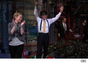 David Letterman Smashes a Christmas Tree With a Go-Kart