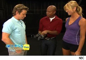 Billy Bush and Travis Payne with Michael Jackson's shoes on 'Access Hollywood Live'