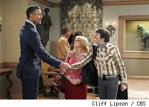 Rick Fox, Melissa Rauch and Simon Helberg on 'The Big Bang Theory' on CBS