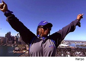 Oprah Winfrey on the Sydney Harbour Bridge