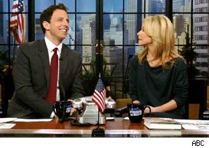 Seth Meyers and Kelly Ripa on 'Live With Regis and Kelly'