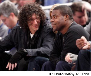 Tracy Morgan and Howard Stern at NY Knicks vs Miami Heat, 01/27/11
