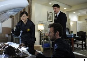 Bones, Booth and Hodgins examine a soupy corpse in this week's episode of 'Bones.'