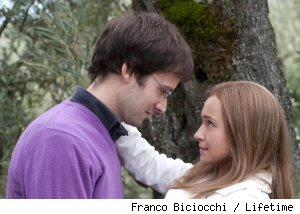 Paolo Romio and Hayden Panettiere in 'Amanda Knox: Murder on Trial in Italy' on Lifetime