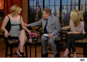 Regis Paws at Kim Cattrall on 'Regis and Kelly'