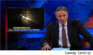 Jon Stewart critiques the U.S. military operation in Libya.