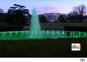Worker Falls in Green-Colored White House Fountain