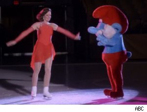 Allison Janney skates with a Smurf on 'Mr. Sunshine'