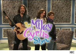Miley Cyrus as Justin Bieber on 'The Miley Cyrus Show,' 'Saturday Night Live'