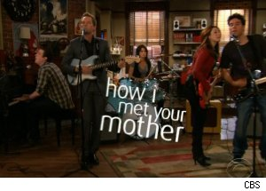 singing the theme song on 'How I Met Your Mother'