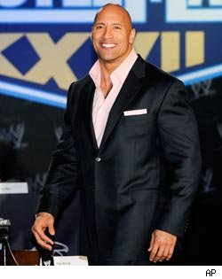 The Rock promoting WrestleMania 27, which airs Sun., 7PM ET on PPV.