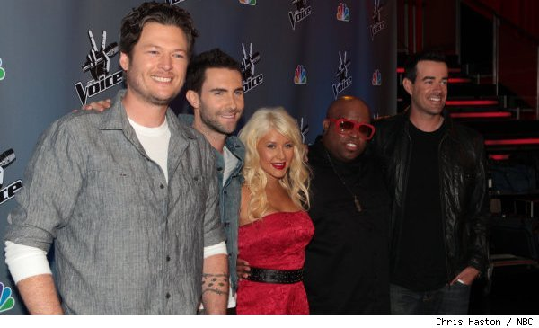 Blake Shelton, Adam Levine, Christina Aguilera, Cee Lo Green and Carson Daly of NBC's 'The Voice'