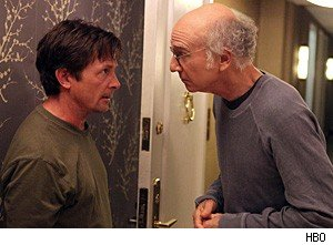 Michael J. Fox and Larry David, in 'Curb Your Enthusiasm'
