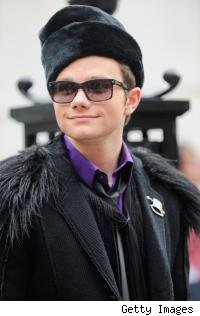 Chris Colfer shooting the 'Glee' finale in New York