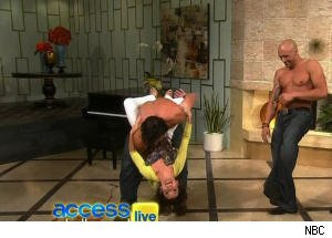 Kit Hoover Gets Manhandled by Male Revue on 'Access Hollywood Live'