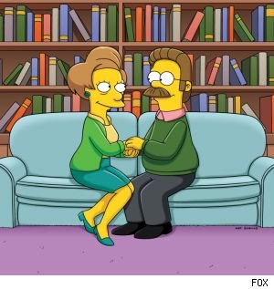 Ned and Edna start dating on the season finale of 'The Simpsons.'