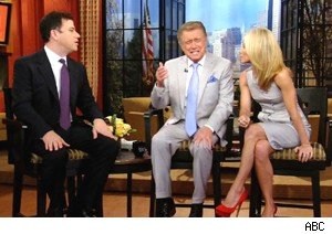 Jimmy Kimmel with Regis Philbin and Kelly Ripa on 'Live With Regis and Kelly'