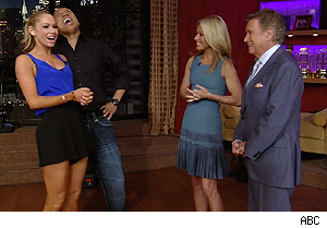 Hines Ward and Kym Johnson with Kelly Ripa and Regis Philbin on 'Live With Regis and Kelly'