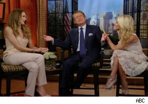 Rosie Huntington-Whiteley, Regis Philbin, and Kelly Ripa on 'Live With Regis and Kelly'