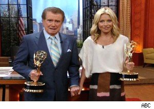 Regis Philbin and Kelly Ripa hold their Emmys on 'Live With Regis and Kelly'