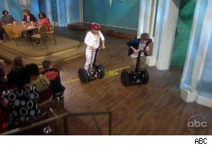 Elisabeth Hasselbeck and Justin Bieber in a Segway race on 'The View'