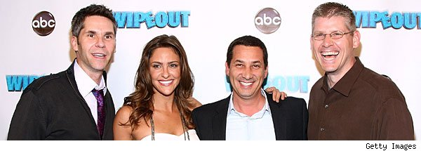 'Wipeout' hosts with creator Matt Kunitz (3rd from left)