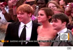 Rupert Grint, Emma Watson, and Daniel Radcliffe at the 'Harry Potter and the Deathly Hallows - Part 2' premiere on 'The Early Show'