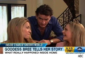 Bree Olson (right) with Charlie Sheen, whom she described as a bored, normal guy on 'Good Morning America'