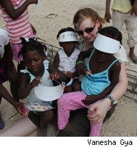 Jessica Meirs with Haitian orphans