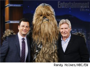 Jimmy Kimmel, Chewbacca and Harrison Ford