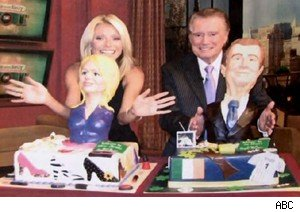 Kelly Ripa and Regis Philbin show of their 'Cake Boss' cakes on 'Live With Regis and Kelly'